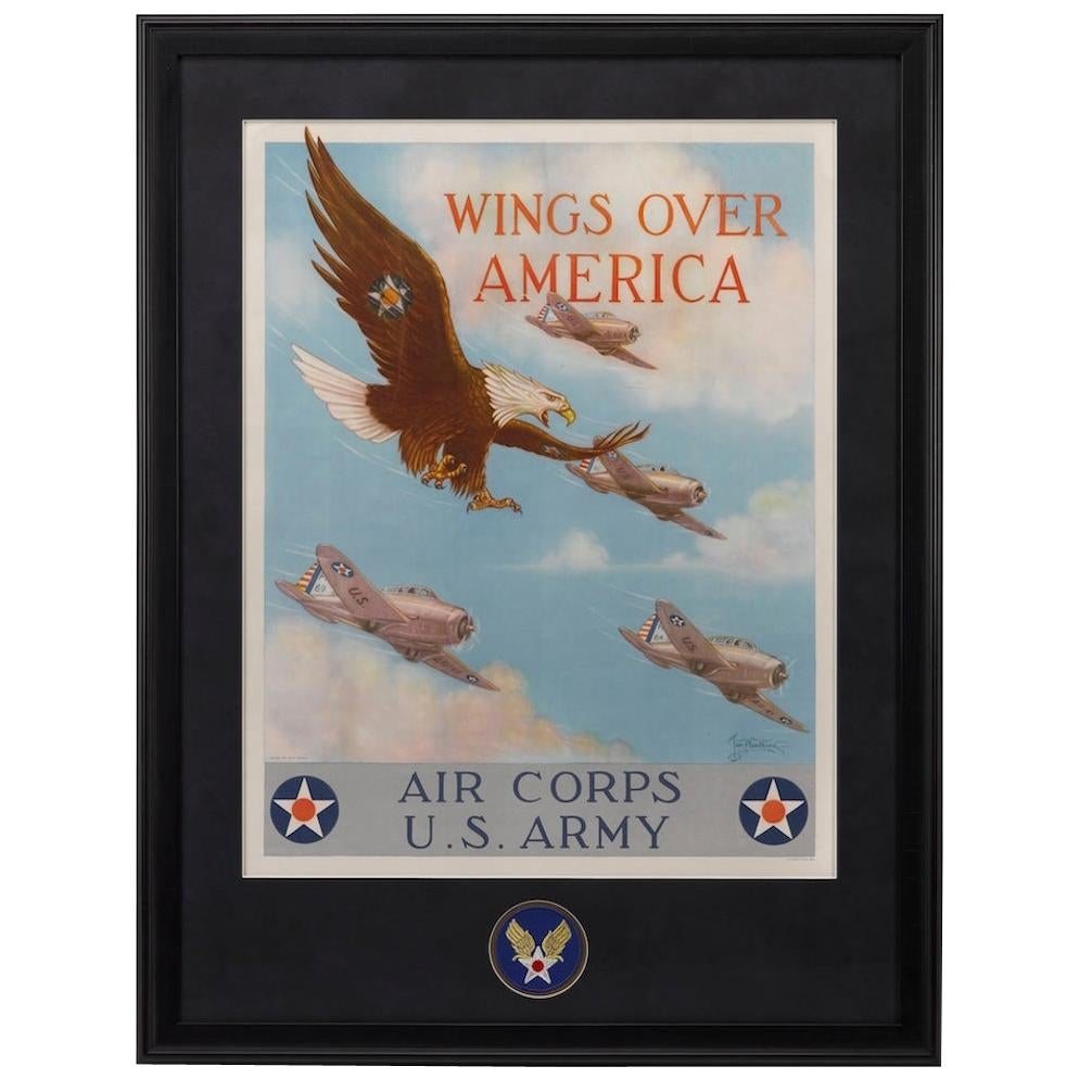 """Army Air Corps WWII Poster, """"Wings Over America"""" by Tom B. Woodburn, 1939"""
