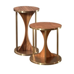"""Wings"" Contemporary Wood and Metal Side Table - Immediate Delivery"