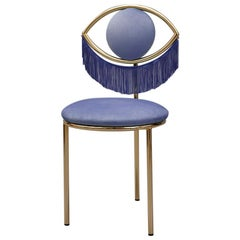 Wink Chair in Bluette Velvet with Fringes