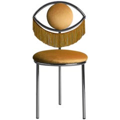 Wink Chair in Orange Velvet with fringes