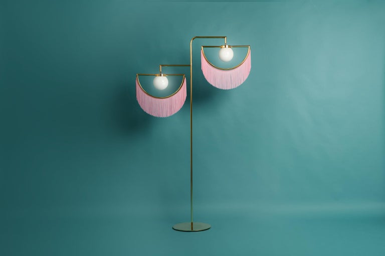 Wink Gold-Plated Floor Lamp  Post-Modernist Style with Pink Fringes In New Condition For Sale In Firenze, IT