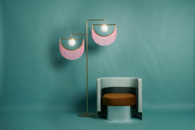 Gold Plate Wink Gold-Plated Floor Lamp  Post-Modernist Style with Pink Fringes For Sale
