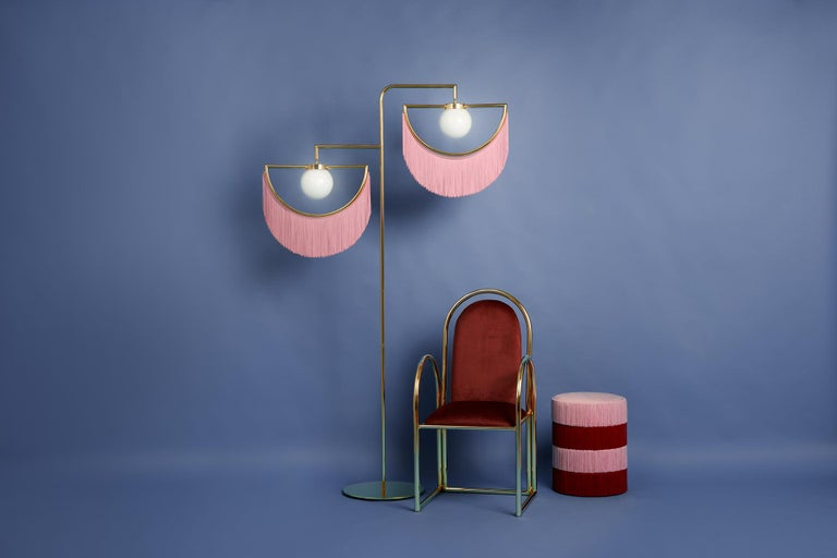 Wink Gold-Plated Floor Lamp  Post-Modernist Style with Pink Fringes For Sale 1