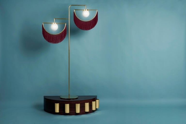 Other Wink Gold-Plated Floor Lamp Postmodernist Style with Purple Fringes For Sale