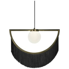 Wink Gold-Plated Pendant Lamp with Black Fringes