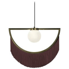 Wink Gold-Plated Pendant Lamp with Brown Fringes