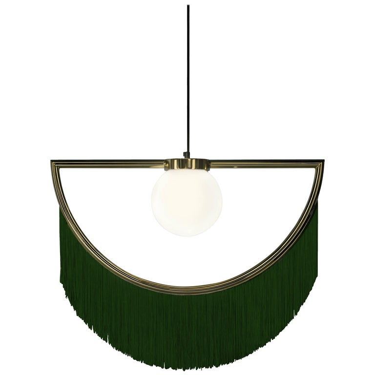 Wink Gold-Plated Pendant Lamp with Green Fringes For Sale