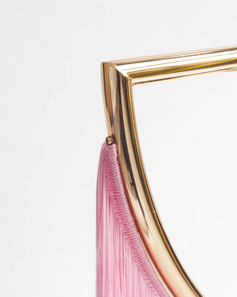 Other Wink Gold-Plated Pendant Lamp with Pink Fringes For Sale