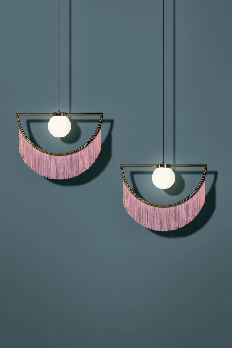 Gold Plate Wink Gold-Plated Pendant Lamp with Pink Fringes For Sale