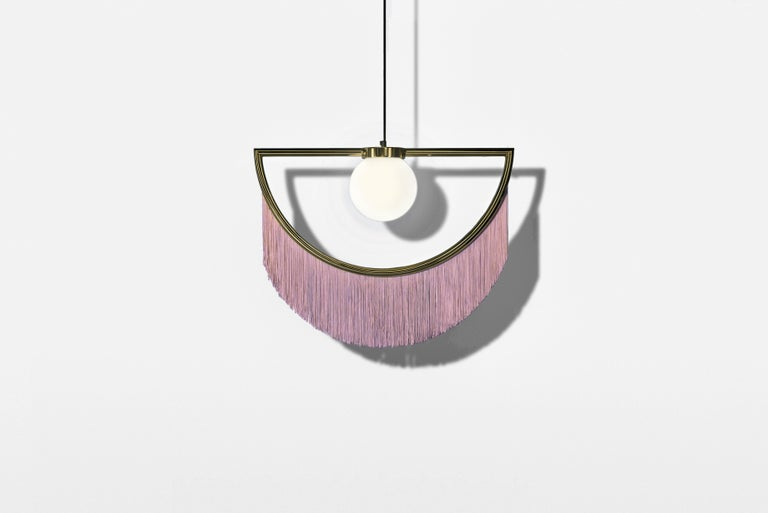 Wink Gold-Plated Pendant Lamp with Pink Fringes For Sale 1