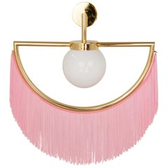Wink Gold Plated Wall Lamp with Pink Fringes, 1stdibs New York