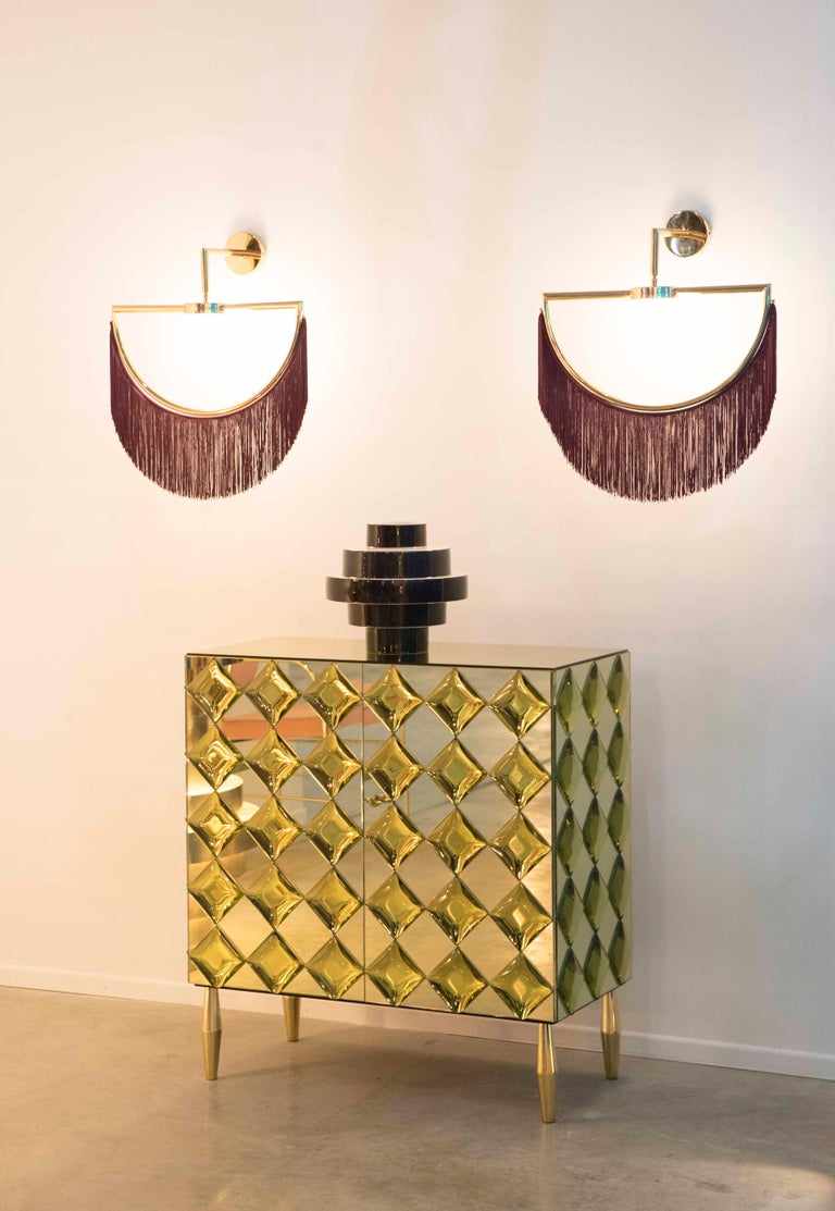 Wink Gold-Plated Wall Lamp with Pink Fringes For Sale 1