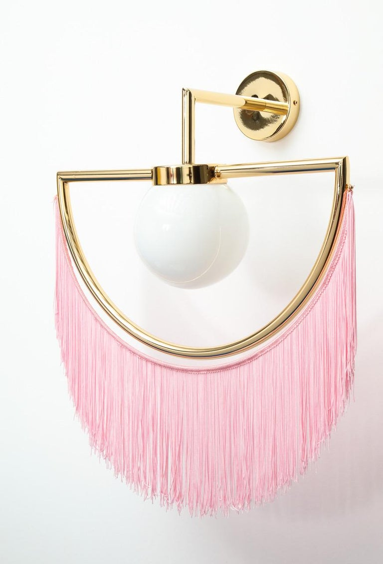 Contemporary Wink Gold-Plated Wall Lamp with Pink Fringes For Sale