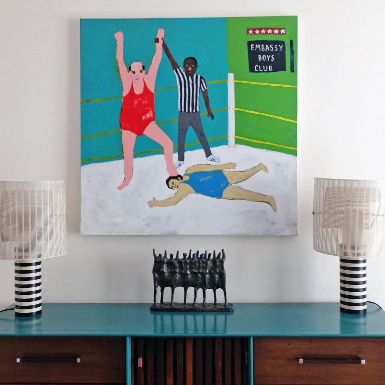 'Winning Is for Losers' Portrait Painting by Alan Fears Folk Art In Excellent Condition For Sale In Nottingham, Nottinghamshire