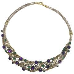 Winograd Multi-Stone 18 Karat Yellow Gold and Silver Necklace
