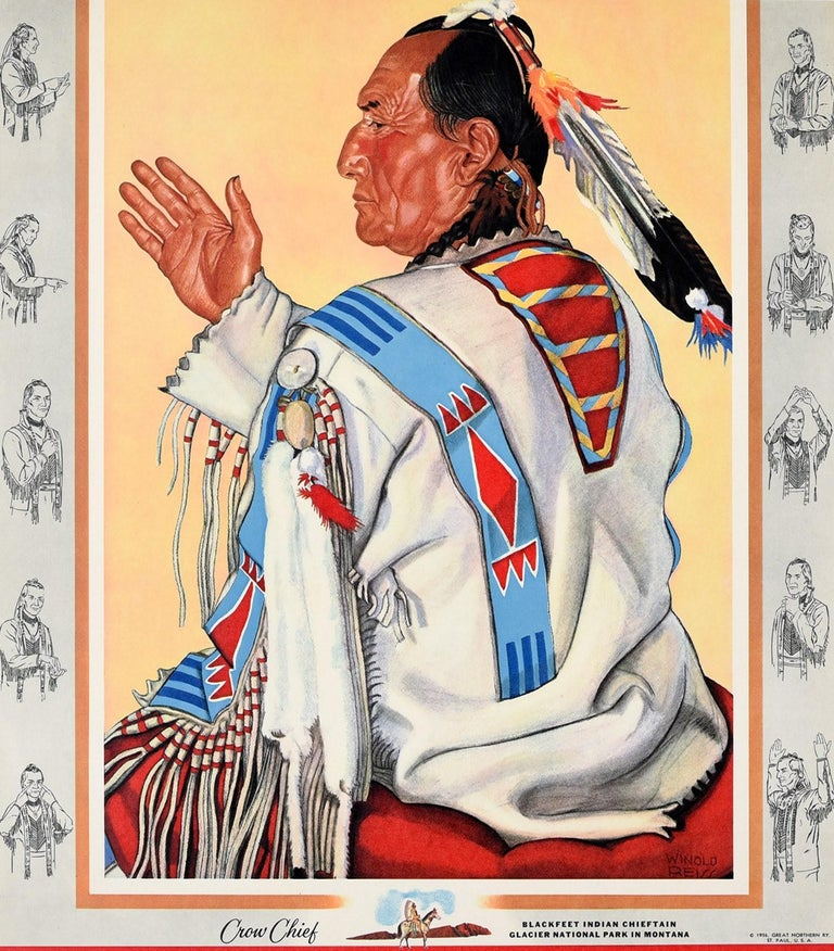 Original vintage travel advertising poster - Great Domes of the Incomparable Empire Builder - featuring a native American man wearing traditional clothing with a colourful bird feather headdress sitting on a red cushion and holding his hand up in