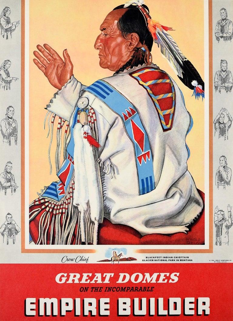Winold Reiss Print - Original Vintage Poster Empire Builder Train Crow Chief Blackfeet Indian Montana