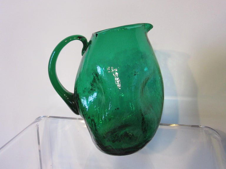 20th Century Winslow Anderson Green Crackle Glass Pitcher by Blenko   For Sale