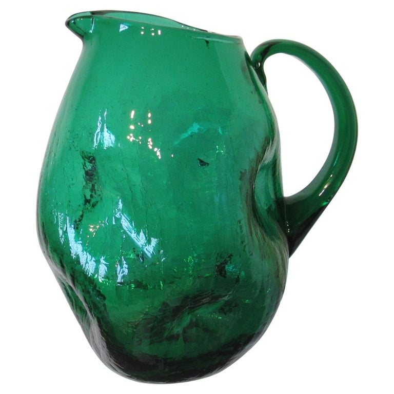 Winslow Anderson Green Crackle Glass Pitcher by Blenko   For Sale