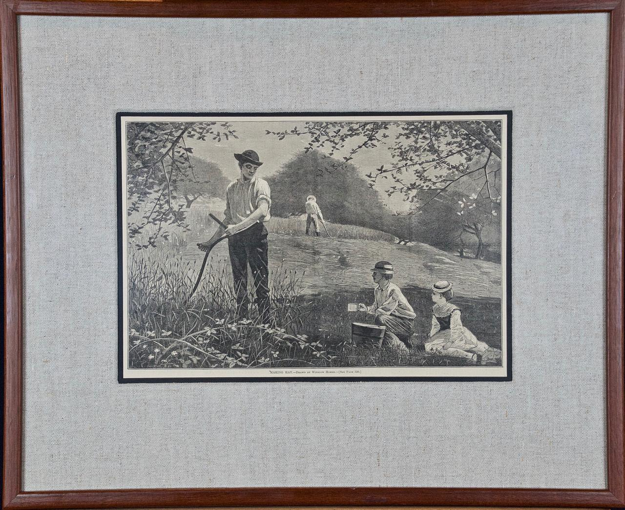 """A Winslow Homer 19th Century Woodcut Engraving """"Making Hay"""""""