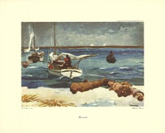 "Winslow Homer-Bermuda-15"" x 18.5""-Poster-1947-Realism-Brown, Blue-boats, beach"