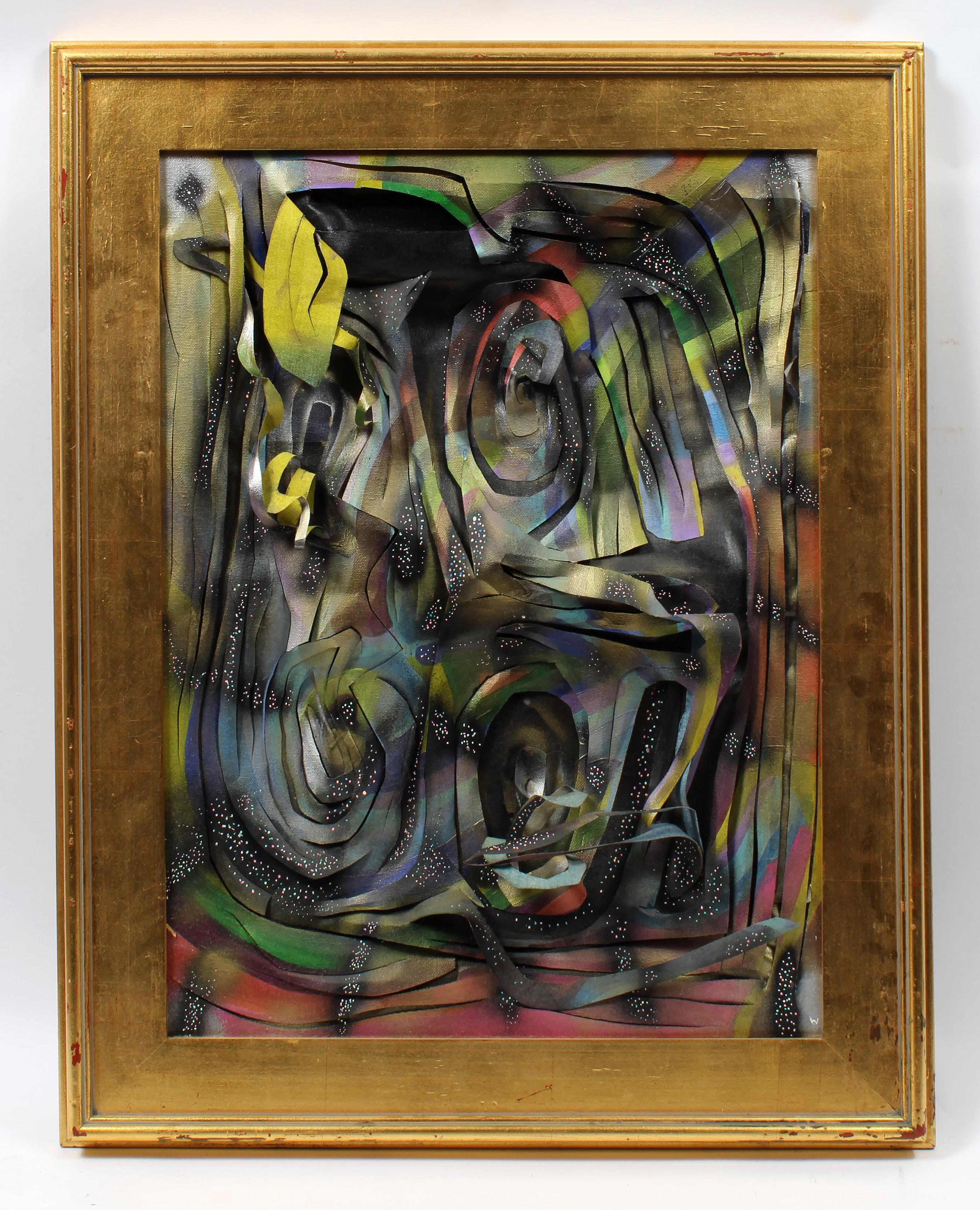 American Emerging Contemporary Artist Sculptural Canvas Framed Spray Paint