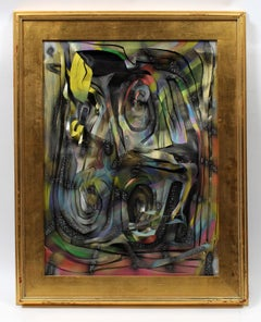 American Emerging Contemporary Artist Sculptural Canvas Framed Spray Paint