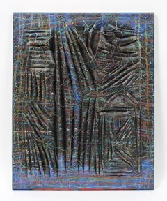 Contemporary conceptual sculptural canvas Oil painting abstract black blue