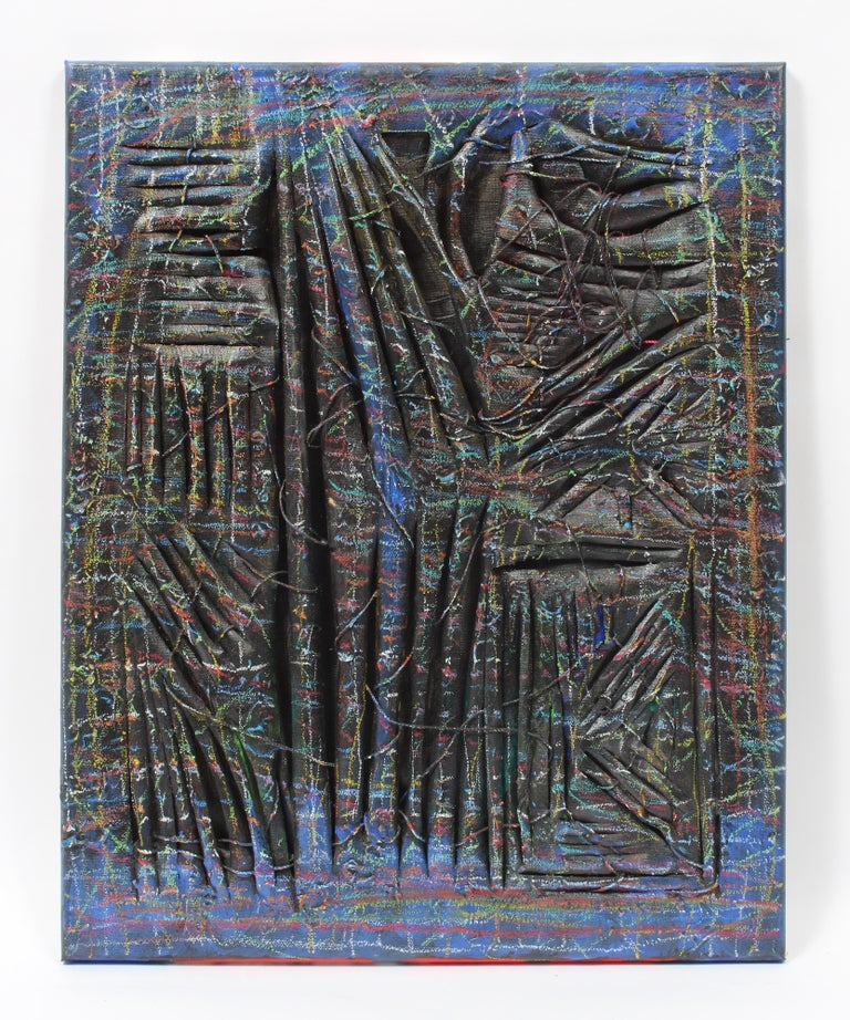 Winslow Tee Abstract Painting - Contemporary conceptual sculptural canvas Oil painting abstract black blue