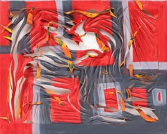 Contemporary conceptual sculptural canvas Oil painting geometric red orange grey