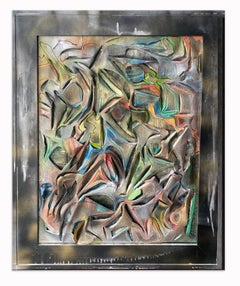 Contemporary conceptual sculptural canvas Oil painting Silver Bright Color Spray