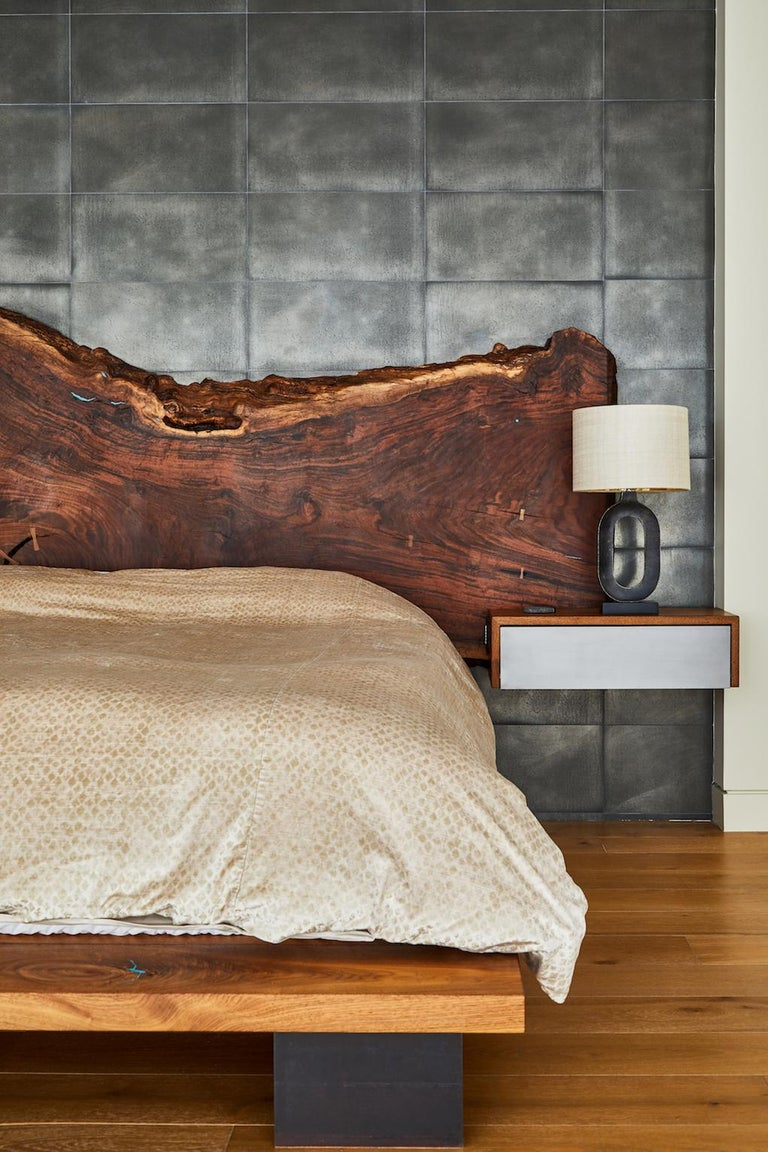 Winston Bed by Casey McCafferty with Claro walnut slab headboard and built in nightstands. 