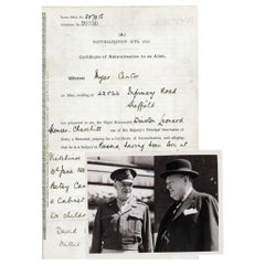Winston Churchill Vintage 1911 Autographed Paper Document and Press Photos