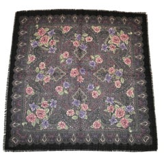 """Winter Floral"" with Black Border Wool Challis Fringed Scarf"