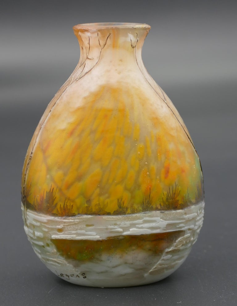 French Winter Forest Legras Vase, France, Early 20th Century For Sale