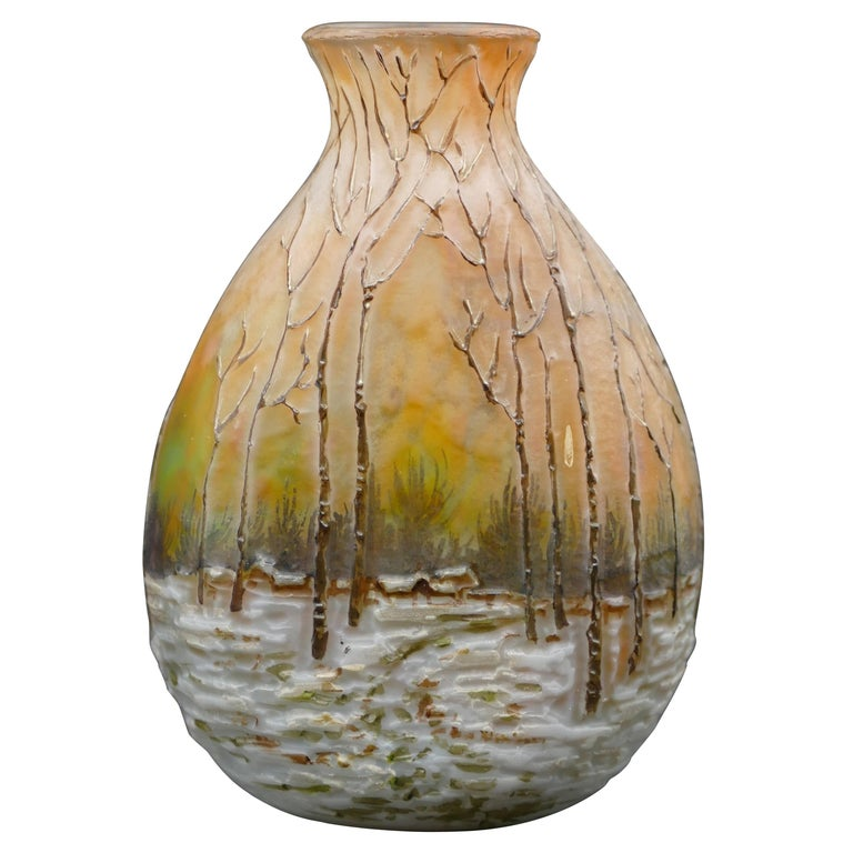 Winter Forest Legras Vase, France, Early 20th Century For Sale