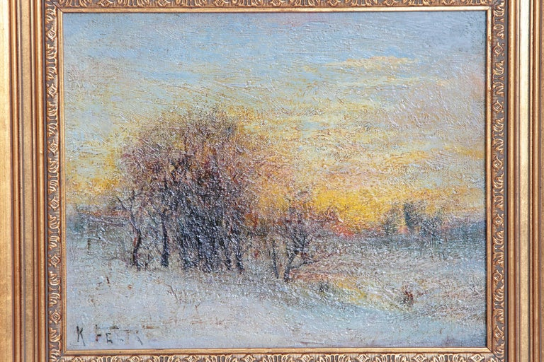A handsome oil on canvas, framed, atmospheric impression of trees in a snow covered landscape rendered in soft pastels, entitled
