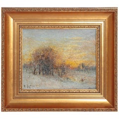 """Winter Landscape at Sunset"" by Austrian Karl Eugene Felix"
