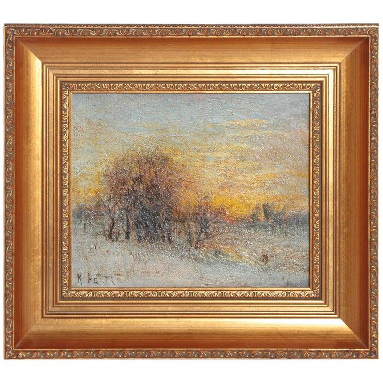"""""""Winter Landscape at Sunset"""" by Austrian Karl Eugene Felix For Sale"""