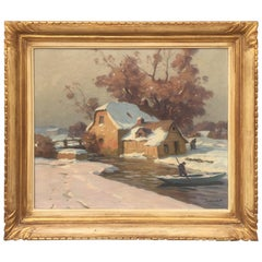 Winter Landscape Oil on Canvas by French Painter Paul André Eschbach