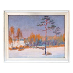 Winter Landscape, Oil on Canvas, Silver Frame, 1930s