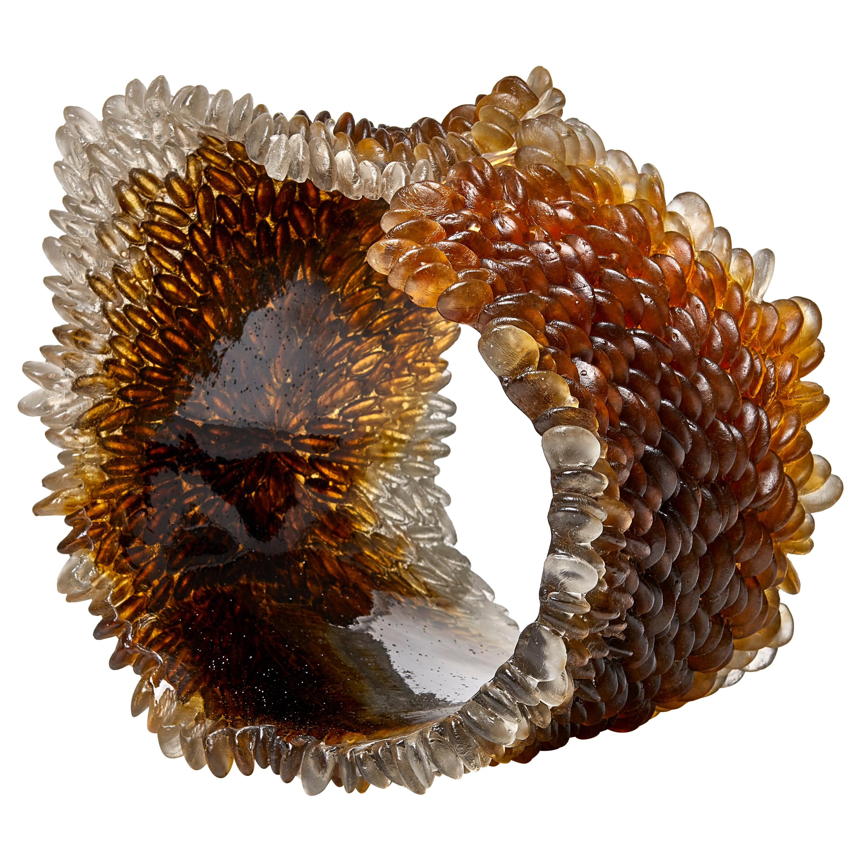 Winter Leaf I, Unique Glass Sculpture in brown & amber by Nina Casson McGarva