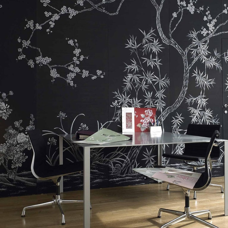 Hand-Painted Winter Peach Blossom Wallpaper For Sale