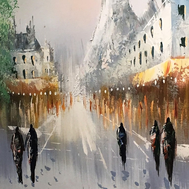Painting by R. Taylor depicting various figures walking in a wintry city. The colors are serene and evoke a feeling of calmness, the scene feels encouraging and inviting.