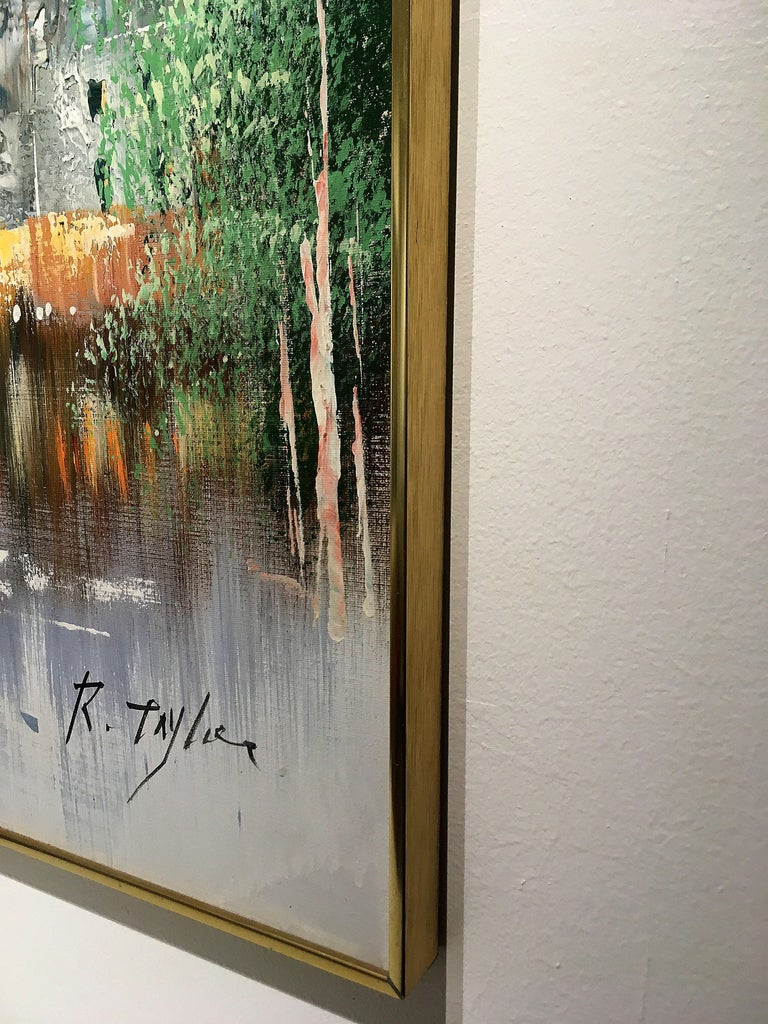 20th Century Winter Scene Painting by R. Taylor For Sale
