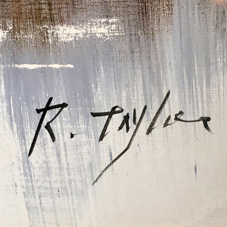 Winter Scene Painting by R. Taylor For Sale 1