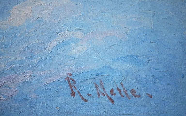 Winter Snow Painting, R.Nette, Alpspitze Oil on Canvas, 1950 For Sale 5