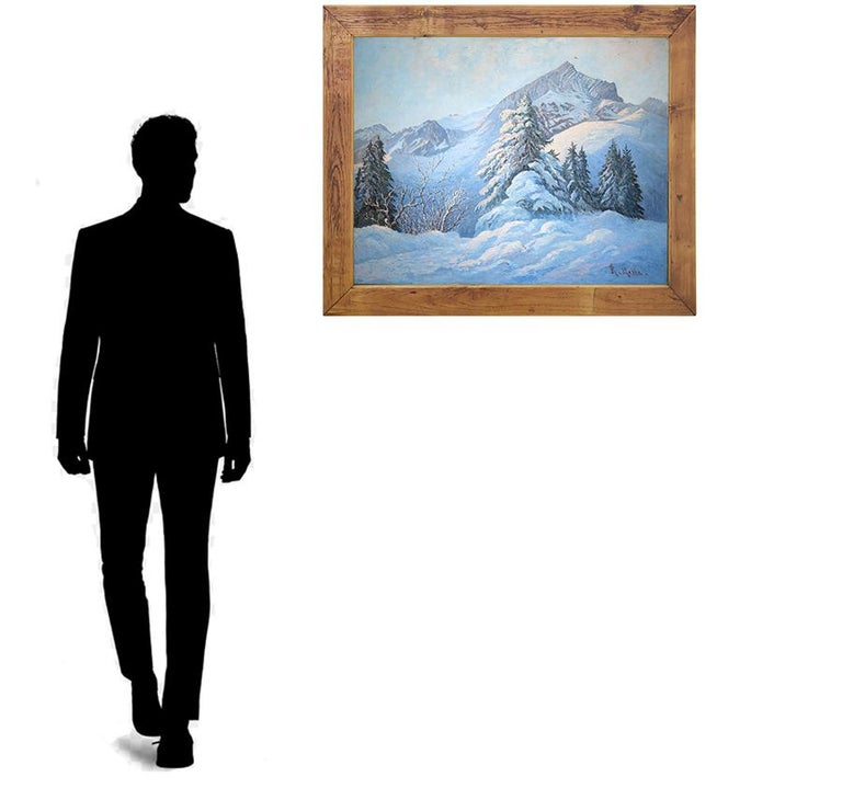 Winter Snow Painting, R.Nette, Alpspitze Oil on Canvas, 1950 For Sale 6