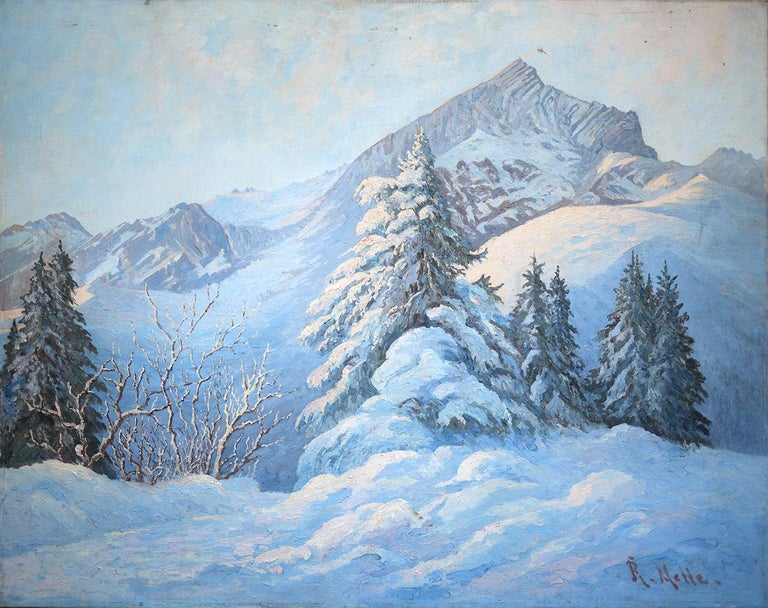 A winter day with lots of snow, R. Nette  Measures: cm80 x cm100 (without frame) - 31.5in x 39.4in (without frame) - oil on canvas, circa 1950  1950s - R. Nette Winter view of the Alpspitze, in the Zugspitze group, Garmisch Partenkirchen,
