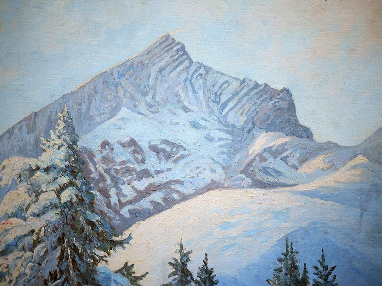 German Winter Snow Painting, R.Nette, Alpspitze Oil on Canvas, 1950 For Sale